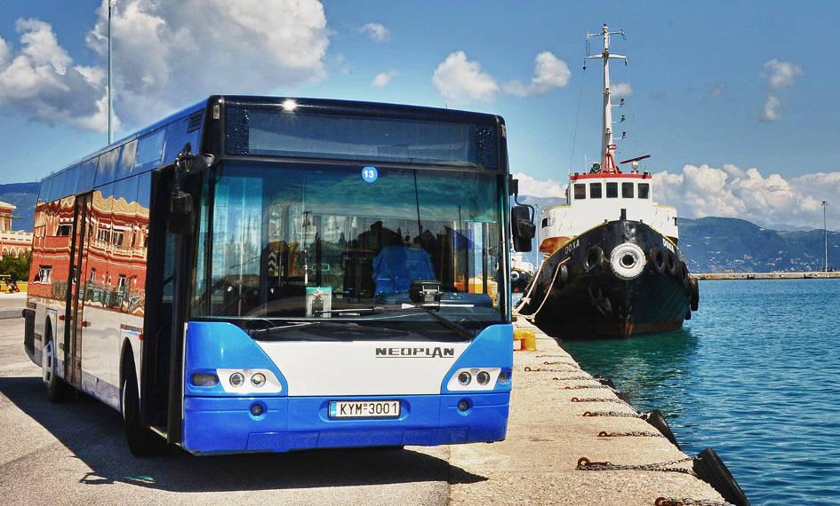 Autobuze si taxiuri in Corfu